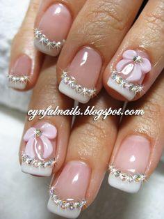 Bridal 3D nail art