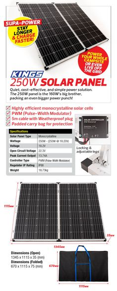 Adventure Kings 250w Solar Panel   Portable   Light-Weight   Camp-Ready