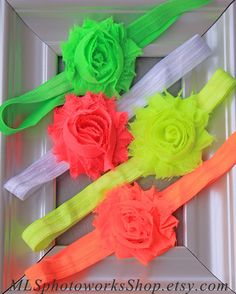 Baby Girl Neon Color Headband Set - Summer Headbands for Babies, Toddlers and Little Girls in Neon Green, Pink, Yellow & Orange on Etsy, $8.00