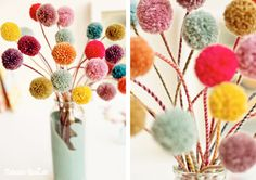 Sure, I can't understand what they are saying, but the tutorial pictures are good!  Pom-pom-flowers with twisted stems.