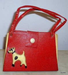 1930s Childs Red & White Leather With Celluloid Airedale Dog Handbag