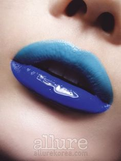 Two toned glossy blue lips. Lee Hyun Yi by Lee Kyung Ryul for Allure Korea July 2010 Blue Lipstick, Lipstick Shades, Lipstick Art, Lipsticks, Makeup Tumblr, Nice Lips, Perfect Lips, Body Makeup, Makeup Art