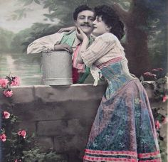 Antique French Romantic Postcard - Couple 'At the Waters Edge...'
