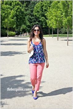 How sweet does Elif from The Box Queen look in these bright summer colors from Stitch Fix!? (Milagra Ribbon Strap Blouse)
