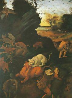 Piero di Cosimo - Scène de chasse - Caccia primitiva -