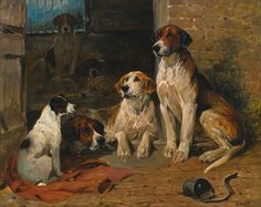 Hounds by a Kennel by John Emms | Art Posters