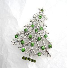 Vintage Rhinestone Christmas Tree Pin Brooch by dstefanTreasures, $21.00