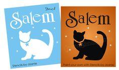 Primitive Cat STENCIL Salem Stars Holiday Halloween decor Witch Kitty craft sign | eBay