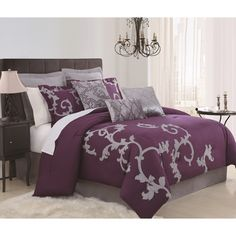 Give your bedroom space an extra bit of pizzazz with this nine-piece comforter set. Featuring a lovely purple-and-grey design, it is perfect for all seasons. It includes a comforter, euro shams, decorative pillows, bedskirt, and standard shams.