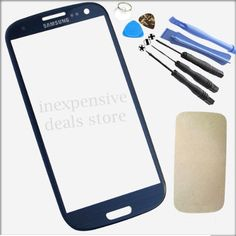 Dark Blue Front Outer Lens Glass Cover Replacement For Samsung Galaxy SIV S4 GT-i9500+Tools+Adhesive