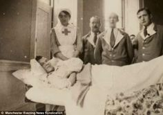 Recovery: Sister Catherine captioned this photo 'W Timms in bed with broken leg'. The album reveals the range of injuries suffered by troops...