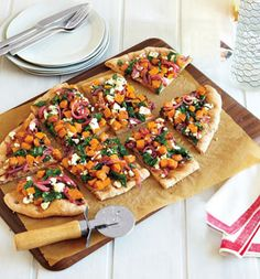 Great for fall - Butternut Squash, Spinach and Goat Cheese Pizza