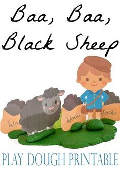 Play Dough Printable for the classic rhyme, Baa-Baa-Black-Sheep. Great language and fine motor skills builder for preschoolers!