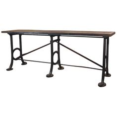"France  1900  Antique French iron and wood shop console. 36""H x 21""D x 8.4'W."