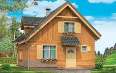 Projekt Słowik to parterowy budynek z poddaszem użytkowym. Dom jednorodzinny przeznaczony dla rodziny 4-5cio osobowej, mogący służyć zarówno jako domek jednorodzinny całoroczny jak i letniskowy. Urokliwy, dzięki ciekawym detalom dom ma w rzeczywistości dość prosty układ. Budynek, ze względu na nieskomplikowaną konstrukcję, będzie łatwy w budowie, co odbije się pozytywnie na kosztach inwestycji. Projekt został stworzony w technologii szkieletowej drewnianej.