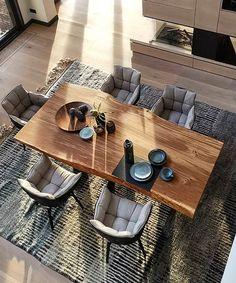 Living Room Interior, Home Interior Design, Classy Living Room, Farmhouse Kitchen Tables, Dining Table Design, Wood Table, Sweet Home, New Homes, House Design