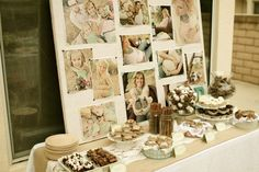 Love this dessert table for H!  Photo collage of her growing up or of her baptism all printed int he same hues/finish.  Super cute!