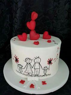 Cute family Valentine's cake Kuchen iDeen 🎂 Birthday Cake For Husband, Dad Birthday Cakes, Cupcake Birthday Cake, Cupcake Cakes, Food Cakes, Husband Cake, Birthday Ideas, Cup Cakes, Happy Anniversary Cakes