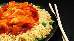 Pollo agridulce con arroz frito