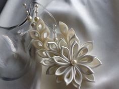 Hair Clip Ivory Kanzashi Flower With Pearls by LihiniCreations