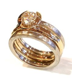 Gold Wedding Band 14kt. Yellow Gold White by HEARTWEARDESIGNS