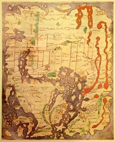 """""""Cotton"""" of Anglo-Saxon world map (c. appears in a copy of a classical work on geography (British Library; Cotton MSS) sur Ancient World Maps Early World Maps, Old World Maps, Old Maps, Antique Maps, Vintage World Maps, Medieval, Empire Romain, World Map Poster, Map Globe"""