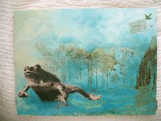 one frog going  mixed media on masonite