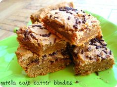 Nutella cake batter blondies