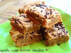Nutella cake batter blondies