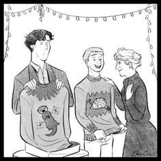 """I don't get it, John. Is there supposed to some resemblance?"" ""Just say thank you, Sherlock."" (by elasmosaurus)"