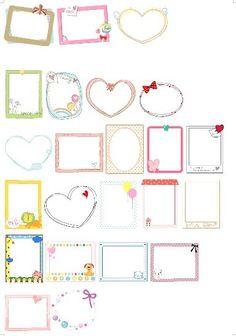 메모지도안 자료 및 편지지 이름표까지! : 네이버 블로그 Simple Borders, Borders And Frames, Bullet Journal Layout Templates, Diy And Crafts, Paper Crafts, Bullet Journal Art, Montessori Activities, Printable Labels, Banner