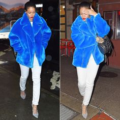 Rihanna wearing Kye Fall 2014 blue faux fur jacket, Isabel Marant Etoile white jeans, Manolo Blahnik grey suede lace-up pumps, Diesel Karola leather backpack