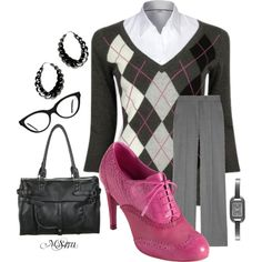 Argyle & Oxford - ditch the pants for a light gray pencil skirt for a sexretary look.