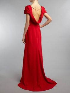 JS Collections Cowl back maxi with rosette detail shoulders Red - House of Fraser