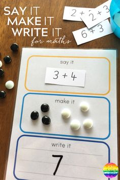 Say It, Make It, Write It For Maths is part of Math center activities - Say It Make It Write It For Maths how to use this FREE printable five different ways to create engaging maths centre activities in school for children aged 57 years you clever monkey Math For Kids, Fun Math, Math Art, Kindergarten Activities, Teaching Math, 5 Year Old Activities, Addition Activities, Children Activities, Addition Games For Kindergarten