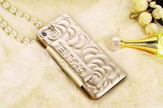 Chanel iPhone 6 Super Thin Rose Embossed Paten Leather Case Golden Free Shipping - Deluxeiphone6case.com