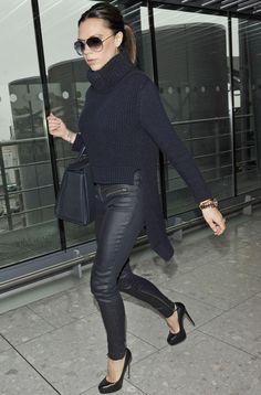Victoria Beckham arriving at Heathrow airport, November 2010