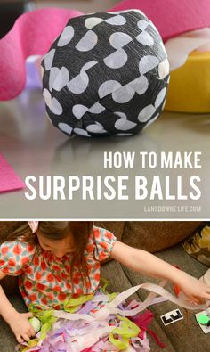 How to make surprise balls for party favors. Includes tutorial and prize ideas.