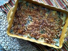 My Sister's Green Bean Casserole | By:Sheila from Eat 2 Gather | A great side dish for any meal.This recipe with green beans is filled with creamy Velveeta cheese and cream of mushroom soup.The flavors blend nicely and give the whole casserole a great texture.This is also a great side dish recipe for your Thanksgiving meal.Top it all off with some French fried onions,and you have yourself a tasty dish.