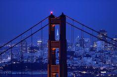 Golden Gate Bridge Against the San Francis...  The Golden Gate Bridge frames the San Francisco skyline at dusk on Wednesday, April 30, 2008. (AP Photo/Marcio Jose Sanchez)