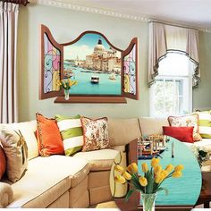 Euro windows view castle sea living room 3d wall sticker waterproof removable decals wholesale wallpaper poster