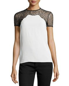 Chantilly Lace-Trim Short-Sleeve Shell, White by Michael Kors at Neiman Marcus.