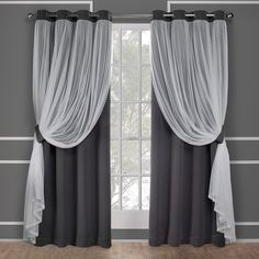 ATI Home Catarina Layered Blackout and Sheer Curtain Panel Pair w/ Grommet Top (96 Inches - Cloud Grey), Size 52x96