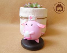 Chansey  Pokemon handmade clay figure by Booshandmade on Etsy