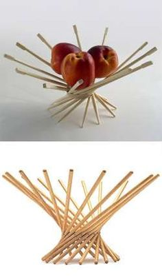DIY Chopstick Bowls (No tutorial but you just need chopsticks and glue ~ additional designs at site.)