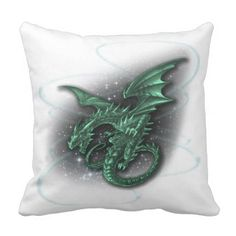 Flight of Fantasy Green Dragon Throw Pillow - home decor design art diy cyo custom