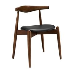 Here's a chair you can depend on to be sturdy and handsome for years to come. Its gently tapered walnut legs stand out at the front, complementing the cushioned vinyl-upholstered seat. It makes an exce...  Find the Steadfast Chair in Walnut, as seen in the Mid-Century Classics Collection at http://dotandbo.com/collections/mid-century-classics?utm_source=pinterest&utm_medium=organic&db_sku=EEI0208-wal-blk