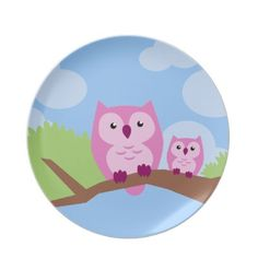 Mom and Baby Owl Plate