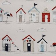 Beach Huts Blue. This would be so cute in a nautical themed bathroom.