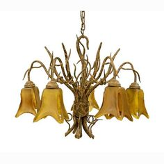 Iron Shant Hanging Five-Leg Chandelier with Glass Shade